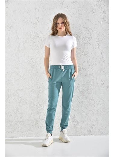 Rodi Jeans Kadın Nakışlı Paça Ribanalı Alt Eşofman Rd21Yb098007 Yeşil